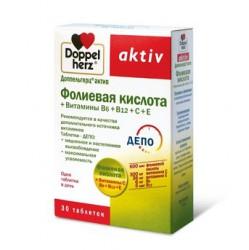 Доппельгерц актив фолиевая кислота+витамины В6+В12+С+Е, табл. 1.111 г №30